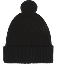 Johnstons Ribbed Cashmere Pom Pom Beanie Black