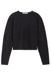 Dion Lee Cutout Boiled Wool Sweater Midnight Blue