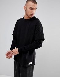 Fairplay Oversized Layered Long Sleeve T Shirt In Black Black