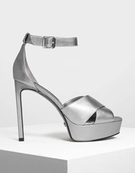 Charles And Keith Leather Platform Heeled Sandals Pewter
