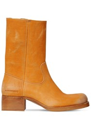 Dsquared Vintage Leather Work Boots Camel