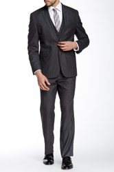 Kenneth Cole Reaction Woven Gray Two Button Notch Lapel Suit