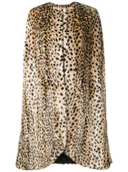 Dries Van Noten Faux Fur Leopard Print Cape Brown