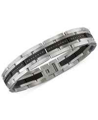Esquire Men's Jewelry Diamond Bracelet 1 Ct. T.W. In Stainless Steel And Black Rhodium Plating Only At Macy's Silver