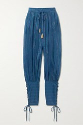 Miguelina Tara Striped Cotton And Lurex Blend Tapered Pants Blue