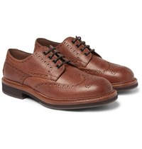 Brunello Cucinelli Full Grain Leather Wingtip Brogues Tan