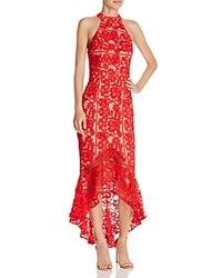 Jarlo Lace High Low Dress Red