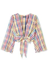 Mds Stripes Everything Cropped Tie Front Gingham Cotton Top Yellow