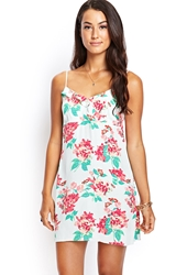 Forever 21 Floral Surplice Cami Dress Mint Coral
