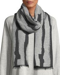 Eileen Fisher Recycled Cotton Blend Jacquard Streaks Scarf Charcoal