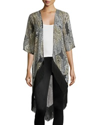 Romeo And Juliet Couture Paisley Fringe Hem Kimono Black Tan