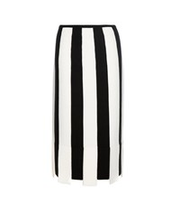Salvatore Ferragamo Striped Wool Skirt Black