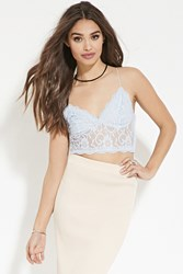 Forever 21 Sheer Lace Crop Top Light Blue