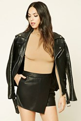 Forever 21 Asymmetrical Faux Leather Skort Black