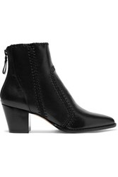 Alexandre Birman Benta Whipstitched Leather Ankle Boots Black