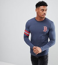 4bda1fa2 Majestic Muscle Fit Long Sleeve T Shirt With Red Sox Back Print Navy