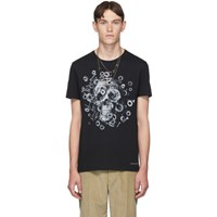 Alexander Mcqueen Black Mechanical Skull T Shirt