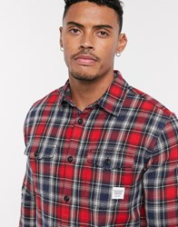 Only And Sons Check Overshirt In Red