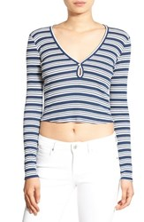 Chloe And Katie Women's Stripe Long Sleeve Crop Tee