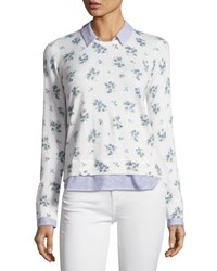 Joie Rika J Layered Floral Print Sweater White