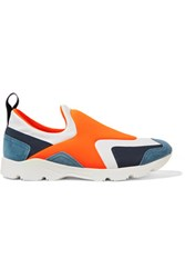 Maison Martin Margiela Mm6 Neon Leather And Suede Trimmed Neoprene Sneakers Orange