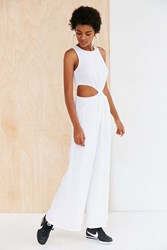 Silence And Noise Gauze Cutout Culotte Jumpsuit White