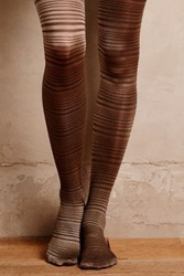 Anthropologie Gilded Stripe Tights Bronze