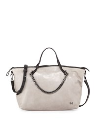 Halston Heritage Two Tone Leather Satchel Bag Heather Gray