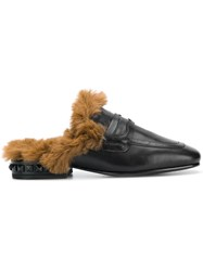 Ash Fur Lined Slippers Black