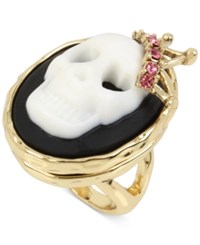Betsey Johnson Gold Tone Skull Cameo With Crystal Spider Surprise Ring Black