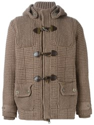 Bark Knitted Duffle Coat Brown