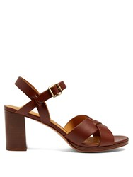 A.P.C. Opera Block Heel Leather Sandals Dark Brown