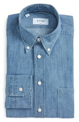Eton Men's Big And Tall Contemporary Fit Chambray Dress Shirt Blue