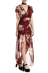 Just For Wraps Short Sleeve Floral Mock Wrap Dress Red
