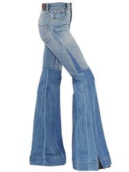 Roberto Cavalli Flared Two Tone Stretch Denim Jeans