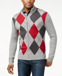 Inc International Concepts Argyle Mock Neck Cardigan Sweater Only At Macy's Heather Grey