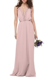 Wtoo Women's Lace Trim Chiffon Halter Gown Chateau Rose