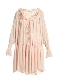 See By Chloe Ruffled Stretch Gauze Jersey Dress Light Pink