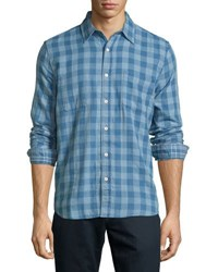 Faherty Reversible Belmar Plaid Print Shirt Blue