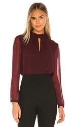 1.State 1. State Sheer Sleeve Keyhole Blouse In Burgundy. Mahogany
