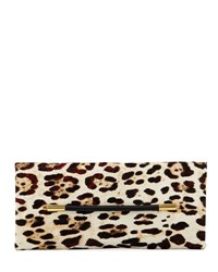 Tom Ford Ava Ghepardo Leopard Print Calf Hair Pochette Clutch Bag Medium Beige