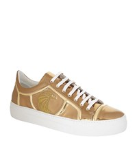 Billionaire Falcon Embroidered Metallic Sneaker Male Gold