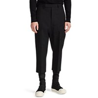 Rick Owens Astaires Embroidered Wool Crop Trousers Black