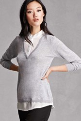 Forever 21 Heathered Mock Shirt Top Grey