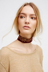 Free People Womens Embroidered Velvet Choker