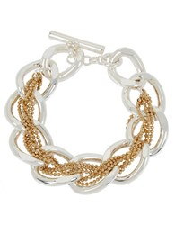 Kenneth Cole Two Tone Braided Woven Link Toggle Bracelet