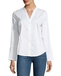 Laundry By Shelli Segal Long Sleeve Poplin Shirt White