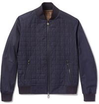 Berluti Quilted Shell Bomber Jacket Navy