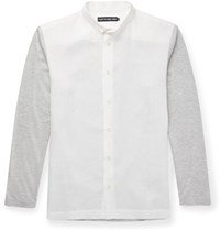 Issey Miyake Panelled Linen And Jersey Shirt White