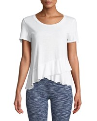 Lanston Draped Ruffle Scoop Neck Tee White